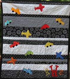 Planes cars and trucks black and white boy baby quilt by ginny watson