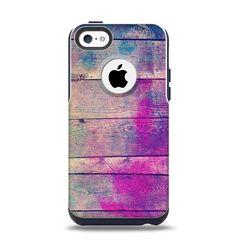 The Pink & Blue Grunge Wood Planks Apple iPhone 5c Otterbox Commuter Case Skin Set