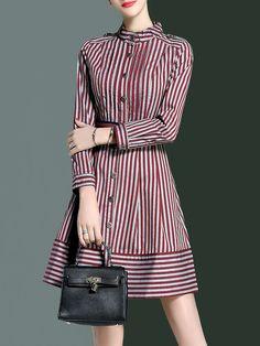 Shop Mini Dresses - Red Casual A-line Shirt Dress online. Discover unique designers fashion at StyleWe.com.