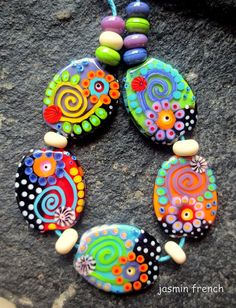 jasmin french      dark-bright     lampwork beads set sra