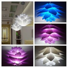 Lamp Covers & Shades Open-Minded Diy Lotus Chandelier Pp Pendant Lampshade Ceiling Room Decoration Puzzle Lights Modern Lamp Shade Lighting Accessories yellow