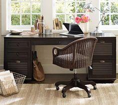 Whitney Rectangular Desk Set - Heritage Espresso finish #potterybarn