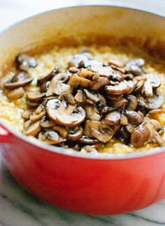 Rich and creamy mushroom brown rice risotto - cookieandkate.com