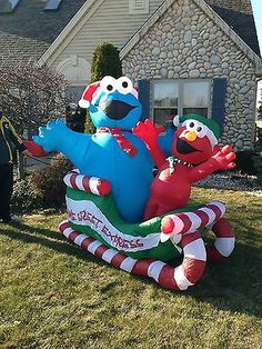 lg christmas sesame street cookie monster elmo airblown inflatable decoration ebay