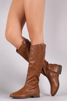 Bamboo Side Tab Riding Knee High Boots - $47.76