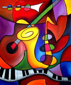 It took about two seconds to figure out this is musical instruments. MX Hand-Painted Oil Painting Abstract Painting With Stretched Frame 9114 – EUR € Music Painting, Oil Painting Abstract, Abstract Canvas, Canvas Art, Jazz Art, Contemporary Abstract Art, Arte Pop, Cool Paintings, Painting Inspiration