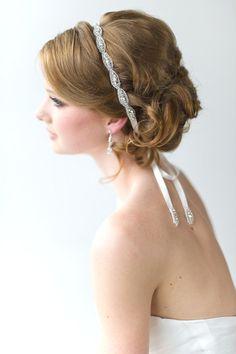 Bridal Ribbon Headband, Luxe Satin Ribbon Headband, Wedding Head Piece, Beaded Ribbon Headband. $39.00, via Etsy.