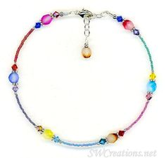 Handcrafted adjustable 9 1/2 - 10 inch beaded anklet created with colorful seed beads, two-toned pastel Czech faceted glass beads, Colorful Seed Beads Two-toned Czech Faceted Glass Beads Swarovski Aus