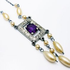 Vintage Art Deco 1930s Pot Metal Rhinestone Amethyst Glass Pearl Necklace