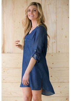 Denim Half Sleeve Dress With Curved Hem https://www.maxfancy.com