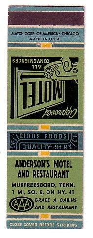 Old Hotel Motel Matchbook Cover - Murfreesboro, Tennessee TN.