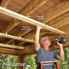 The first step in building the under-deck roof is to attach the spacer blocks and purlins.