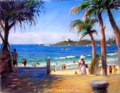 Christine clark Wonderful long lazy beaches, rivers and waterways. Vibrant Colors, Colours, Figure Painting, Palm Trees, Pastel, Boat, Australia, Portrait, Gallery