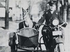 New Jersey State Police officer Harold Kiernan has backup riding shotgun in 1928 in this early version of the State Police K9 division. #Setcom #Police   http://www.setcomcorp.com/helmetkit.html