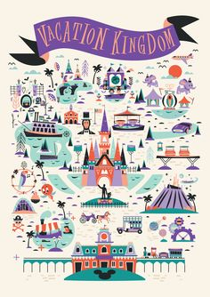 Vacation Kingdom on Behance Disney World Map, Disney Map, Disney Love, Disney Parks, Disney Pixar, Punk Disney, Disney Villains, Disney Princesses, Walt Disney