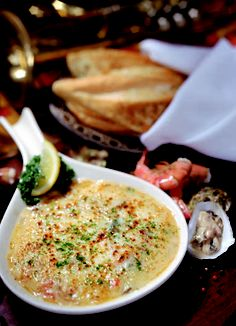 The Pappadeaux Seafood Fondue appetizer served with fresh garlic bread. This stuff is absolutely amazing!
