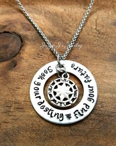 Seek Your Destiny Find Your Future Hand Stamped Necklace, Compass Necklace, Graduation Gift, Gift for Her, Gift for Him, Off To College Gift by JazzieJsJewelry on Etsy