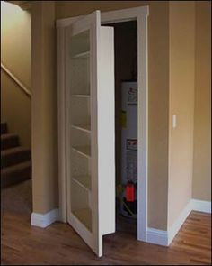 Good idea for downstairs bathroom door...Replace a closet door with a bookcase door. Awesome because then you have a secret room.