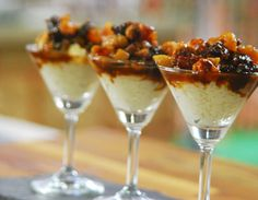 Creamy rice kheer served topped with dried fruit compote.
