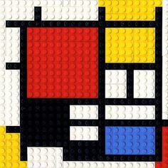 Bauhaus Movement Magazine - Lego's homage to Mondrian Piet Mondrian, Mondrian Dress, Mosaico Lego, Deco Lego, Tableaux Vivants, Fantasy Kunst, Art Moderne, Art Plastique, Elementary Art