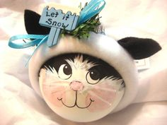 BLACK and WHITE CAT Ornament Let It Snow by TownsendCustomGifts