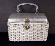 Vintage Lucite Straw White Pearl Box Purse Brass Mid Century Retro Rockabilly  #Encore #Box #Casual
