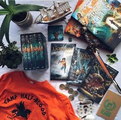Mine are beat up, and The Sea of Monsters has a little blood in it. My pages are ripped, and the covers are wrinkled. But I really want that shirt lol Percabeth, Solangelo, Rick Riordan Series, Rick Riordan Books, Sea Of Monsters, Percy Jackson Books, Leo Valdez, Uncle Rick, Book Aesthetic