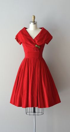 Billetdoux dress / red 1950s dress / velvet 50s by DearGolden, $224.00