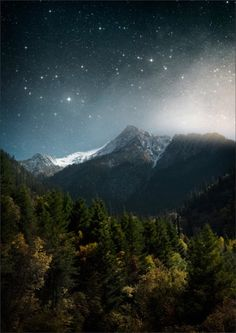 Mountain view and starry skies