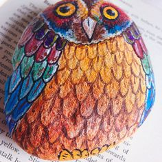 Stone owl paperweight hand painted owl pebble by SmallBearCraft