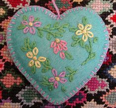 felt ornament heart , originally uploaded by sunshine's creations . If you are thinking of Valentine's Day and want a simple ornamen. Felt Christmas Decorations, Felt Christmas Ornaments, Handmade Christmas, Diy Ornaments, Beaded Ornaments, Glass Ornaments, Felted Wool Crafts, Fabric Hearts, Felt Embroidery