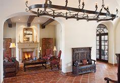 Lake Home Living - mediterranean - living room - austin - Cornerstone Architects... love the bench...