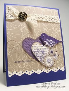 Stampin' Up! Birthday by LeAnne Pugliese at weeinklings Can do this with the punches that I have--love the color combo.