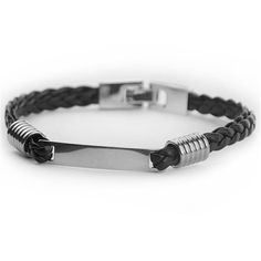 Customize Name Bracelet For Men,Black Leather Stainless Steel ID Bracelets For Male,Free Carving Logo PU Bracelets For Him