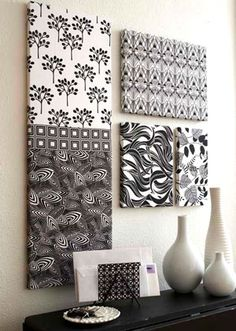 Fabric Art Wall Hanging  If you have fat quarters you can't bear to cut into small pieces, combine them with larger pieces to cover purchased stretched artist's canvases.