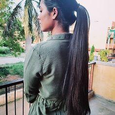 Long Hair Ponytail, Ponytail Hairstyles, Straight Ponytail, Bun Hair, Long Dark Hair, Very Long Hair, Long Indian Hair, Cut My Hair, Beautiful Long Hair