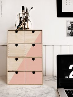 'Moppe' miniature chest of drawers in untreated wood by IKEA - for storing gemstones away from sunlight