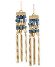 Kenneth Cole New York Gold-Tone Beaded Fringe Drop Earrings