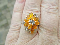 Platinum/SS 1.50ct Ovl Jalisco FIRE OPAL w/Wh Topaz Cluster Ring - Sizable 8 #Cluster