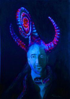 Devil art. Lucifer canvas prints in psychodelic by TanabeStudio