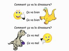 French kid's song with dinosaurs to practice comment ça va expressions Dinosaur Songs, French Greetings, Primary Songs, French Songs, French Kids, Core French, Cross Curricular, French Resources, French Immersion