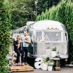 Read this exciting story from Sunset January One couple shrugs off traditional homeownership in favor of a Airstream. Airstream Living, Airstream Campers, Airstream Remodel, Airstream Renovation, Airstream Interior, Vintage Airstream, Vintage Travel Trailers, Remodeled Campers, Vintage Campers