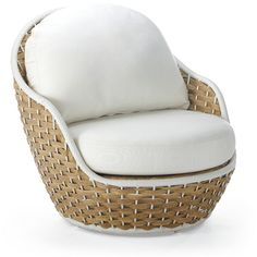 Ravello Lounge Chair with Cushions by Porta Forma ($2,154) ❤ liked on Polyvore featuring home, outdoors, patio furniture, garden white furniture, frontgate outdoor furniture, frontgate, white patio furniture and frontgate patio furniture