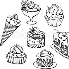 Stock vector of 'Vector set of cakes in black Hand drawn illustration'
