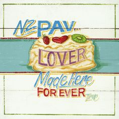 Serviettes to celebrate NZ's love of one of our culinary creations - the pavlova Kiwiana, My Point Of View, Pavlova, Paper Napkins, New Zealand, Lovers, Art Prints, How To Make, Tissue Paper
