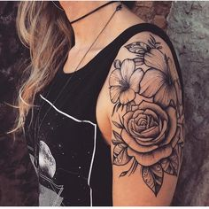 tattoos 21 Rose Shoulder Tattoo Ideas for Women Shoulder Sleeve Tattoos, Half Sleeve Tattoos For Guys, Half Sleeve Flower Tattoo, Shoulder Tattoos For Women Sleeve, Flower Tattoos On Shoulder, Arm Tattoos For Women Upper, Feminine Sleeve Tattoos, Flower Sleeve Tattoos, Shoulder Piece Tattoo