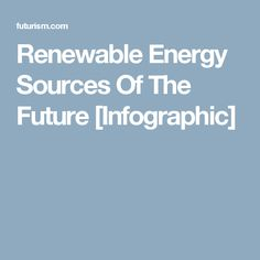 Renewable Energy Sources Of The Future [Infographic]