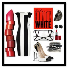 """""""Life in Black & White"""" by ina-kis ❤ liked on Polyvore featuring Karen Millen, NARS Cosmetics, Betsey Johnson, H&M, blackandwhite, classy and Elegant"""