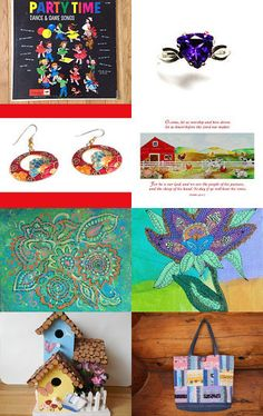 Nice assortment of gift ideas including a Tweety Bird glass, birdhhouse, tote bag and more...Creative and Cheerful and Colorful! by Rebecca B on Etsy--Pinned with TreasuryPin.com