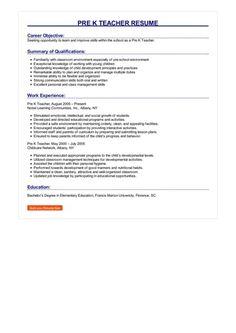 7 Pre K Teacher Resume 5 Preschool Teacher Resume, Teacher Resume Template, Resume Template Free, Templates Free, Career Objectives For Resume, Resume Objective, How To Make Resume, Teacher Assistant, Manager Resume
